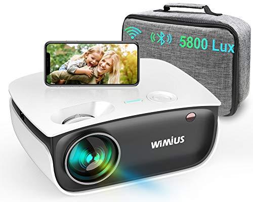"""WiFi Proiettore mini, Bleutooth 5800 Lumen LED Videoproiettore, WiMiUS S25 LCD Nativa 720P Home Cinema 200"""", Full HD 1080P Supporto Distorsione Correzione ±15°, per Fire TV Stick PS4 PC Tablet iPhone"""
