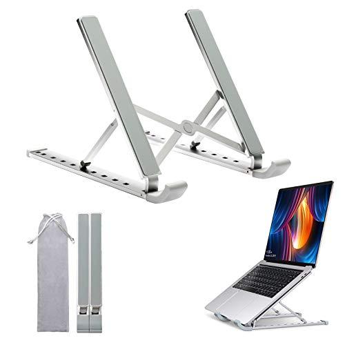 Laptopständer, tragbarer Laptop-Computer-Kühl-Riser-Schreibtisch, ergonomisch verstellbarer Notebookhalter aus Aluminium für Lenovo, MacBook Pro Air, iPad, Dell XPS, HP, mehr 11-17-Zoll-Silber