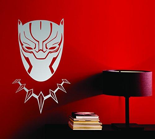 Black Panther Wakanda King Tête Masque Superhero enfants Cadeau Décor Art Sticker mural en vinyle de décoration de voiture autocollant - Large 90 cm x 55 cm - Silver
