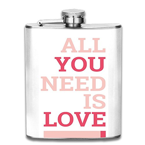 WUGOU Stainless Steel Hip Flask 7 Oz (No Funnel) All You Need Is Love Full Printed