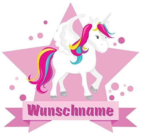 Samunshi® Großes Einhorn Wandtattoo Türschild mit Name personalisierbar Kinderzimmer Türaufkleber Baby Wandaufkleber in 9 Größen (25x22cm Mehrfarbig)
