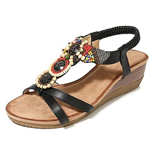 Gycdwjh Moda Sandalias de Mujer, Bohemias Moda CuñA Sandalias con Pedrería Verano Peep Toe Casuales de Playa para Uso Diario y de Fiesta,Negro,39 EU