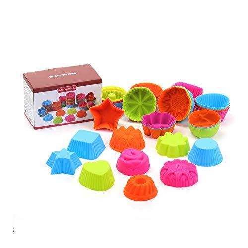 KATELUO - Pirottini in silicone riutilizzabili per muffin, 36 pezzi, a forma di cuore, rosa e stella, 9 forme