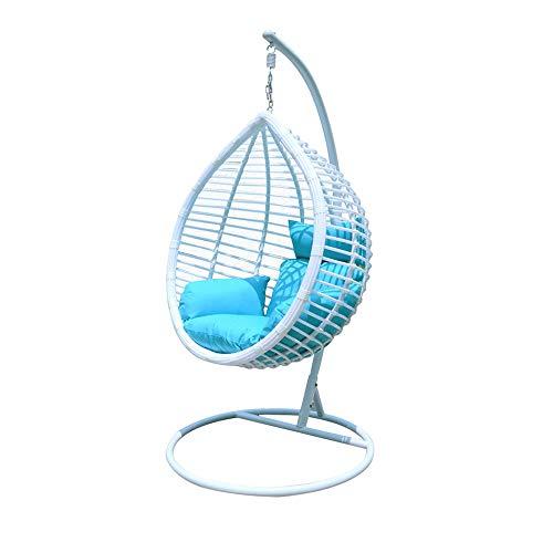 DENGSHENG SHOPS Outdoor Binnenplaats Handgeweven Wit Mode Metalen Frame Hoge dichtheid Waterdichte Spons Swing Balkon Oude Nest Stoel, Size, Kunststof