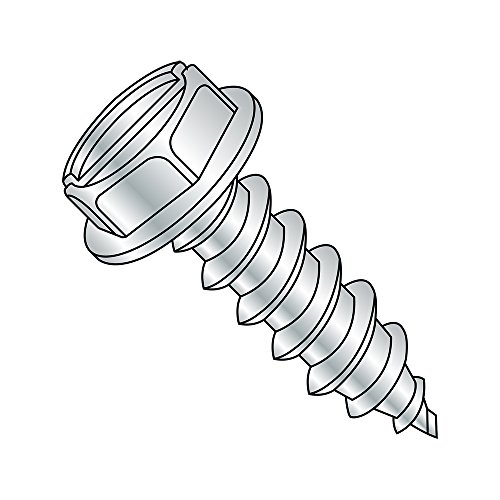 Steel Sheet Metal Screw, Zinc Plated, Hex Washer Head, Slotted Drive, Type AB, #4-24 Thread Size, 1/4