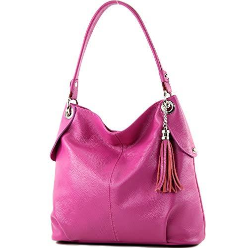 modamoda de - T185 - ital. Damen Schultertasche aus Leder, Farbe:Pink