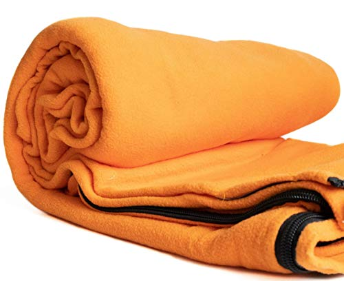 Croxshop Micro-fleece sleeping bag liner. Keep your sleeping bag clean and dry. Multifunctional uses as camping equipment, garden blanket or travel essentials. Compact carry bag.