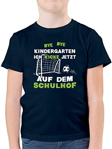 Einschulung und Schulanfang - Bye Bye Kindergarten Einschulung Fußball - 128 (7/8 Jahre) - Dunkelblau - t-Shirt 1.Schultag - F130K - Kinder Tshirts und T-Shirt für Jungen