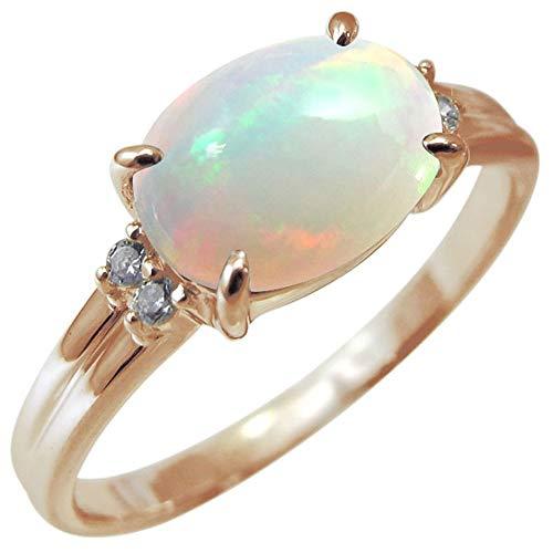 [プレジュール] レディース オパール リング 一粒 指輪 ピンクゴールド K18 18K 18金 指輪 大粒 リング リングサイズ10号