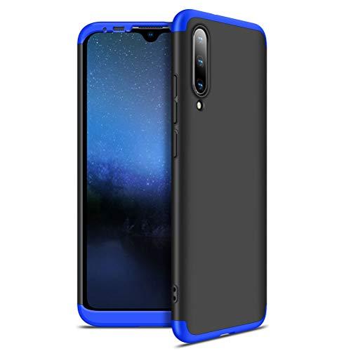 EUDTH Capa para Xiaomi Mi A3/CC9e, capa removível ultrafina 3 em 1, capa fosca rígida de policarbonato à prova de choque, capa protetora de corpo inteiro para Xiaomi Mi A3/CC9e - azul + preto