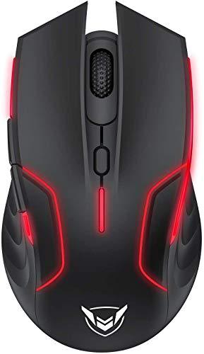 PICTEK Mouse da Gioco Wireless, Mouse RGB con Sensore da 10000 DPI, 6 Pulsanti Programmabili, USB 2.4G Batteria a Lunga Durata, Profili di Gioco Personalizzabili, per PC