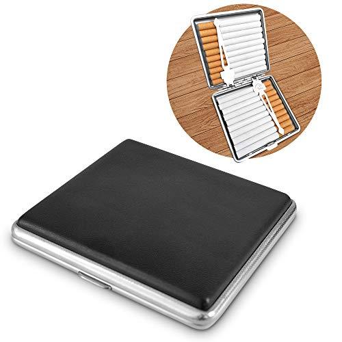 Zigarettenetui 20 Zigaretten für Damen und Herren - Elegante Zigarettenbox Metall mit Kunstlederbezug - Unisex Cigarette Case - Zigarillo Etui
