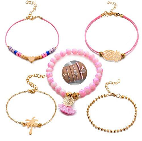5 teiliges Armband Set | Bohemian Indi Style | Verstellbar | Gold Rose Pink | Modeschmuck Glitzer Herz Welt Armreif Frau Mädchen Ananas Love Herz Liebe Palme