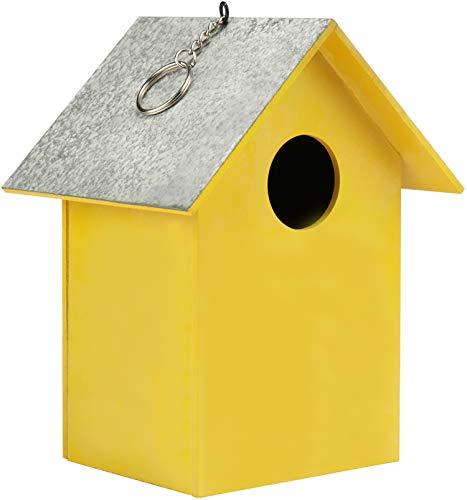 COM-FOUR® houten vogelhuis - nestkast voor kleine vogels - decoratieve vogelvoeder om op te hangen - bescherming voor kleine wilde vogels (01 stuk - 17x13 x11,7cm geel)