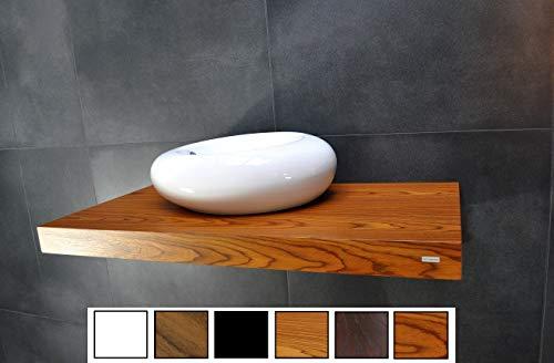 Carl Svensson Edler Waschtisch Waschtischplatte Waschkonsole Eiche mit Halterung WT-120 + WT-120H (WT-120 Teak mit Standarthalterung)