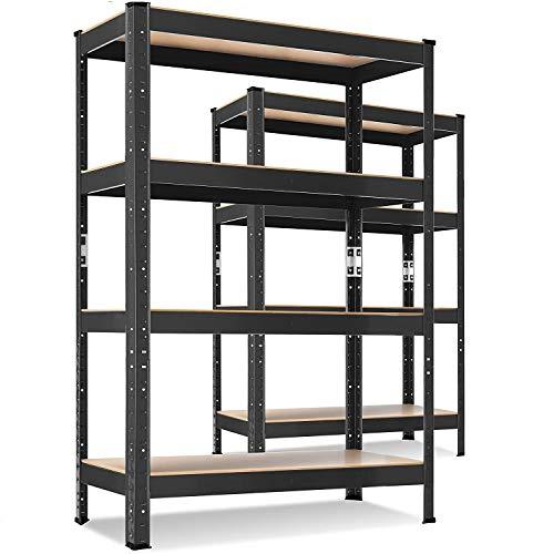 MASKO® 2er-Set Lagerregal Schwerlastregal, Kellerregal, 160 x 80 x 40 cm, bis 700kg belastbar, 4 verstellbare Ablagen, MDF-Platten Regal aus Metall, Steckregal,...
