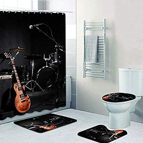 JZDH Duschvorhänge Sets Black Musical Instruments Duschvorhang Badezimmer Vorhang Set Gitarre Trommel Bass Musik Bad Vorhang mit Bad Matte Teppich Home Decor 180x180cm (71x71in)