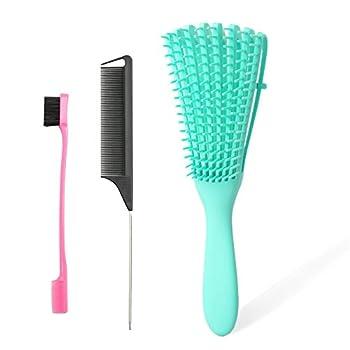 3Pcs Detangling Brush Set Detangler Brush,Edge Brush and Rat Tail Comb for Black Natural Hair Tender Hair Comb Brushes Easily Hair Detangler for 3A to 4C Kinky Wavy/ Curly/Wet/ Dry/ Thick/ Long