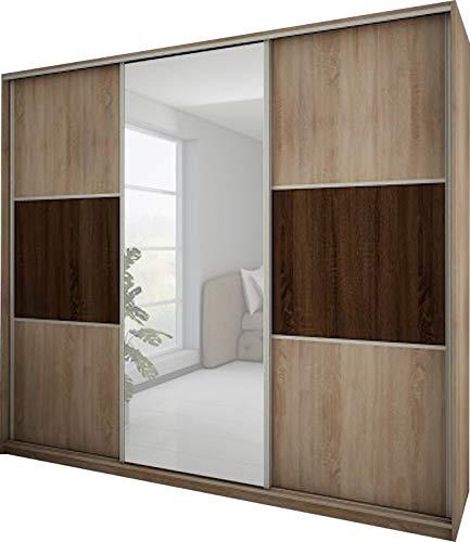 FurnitureByJDM - Moderne garderobekast 3 schuifdeuren - RICO - met spiegel. Breedte: 240cm Hoogte: 216cm Diepte: 65cm - (Eiken Sonoma - Eiken Sonoma Donker)