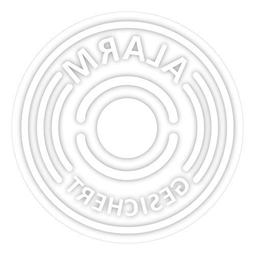 18er Aufkleber-Set Alarm-gesichert, innen-klebend I Ø 4 cm I Achtung Objekt besitzt Alarmanlage I für Fenster-Scheibe, Tür I transparent I hin_371