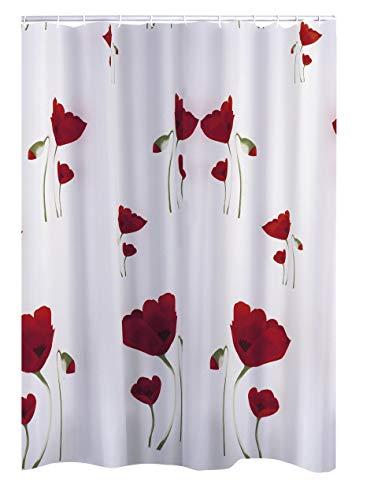 RIDDER Duschvorhang Textil Mohn Multicolor 180x200 cm