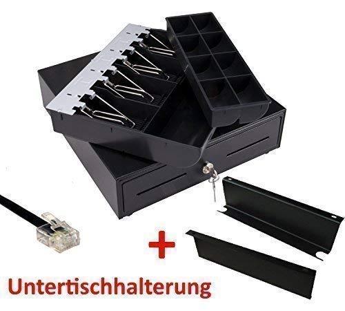 MINI Kassenlade iQPOS330 mit Untertischhalterung 33x34,5x10cm RJ12/RJ11, Kassenschublade Geldlade Geldkassette