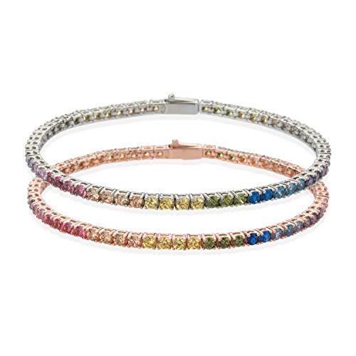 Bracciale Tennis in Argento 925% Oro Rosa Zirconi Multicolor Arcobaleno 2,50 mm Taglio Diamante Uomo Donna 18 cm Made in Italy