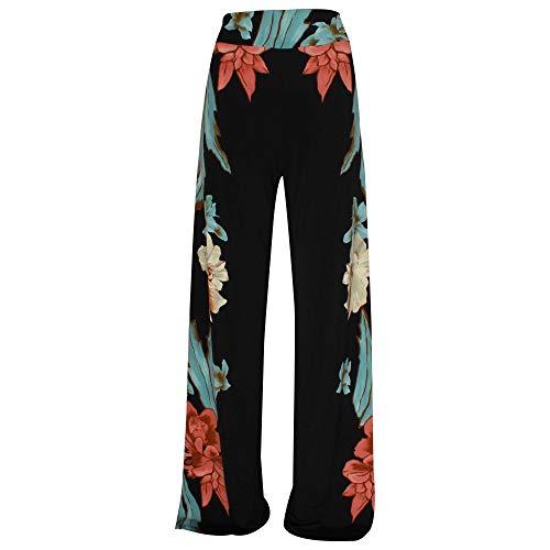 Frank Lyman Wide Leg Bold Floral Print Trousers 16 Black Multi