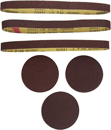 Scheppach 3903301707 Schleifbänder/Schleifpapier-Satz 12tlg f. Band-u. Tellerschleifer, 12 Stück