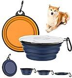 Lewondr [2 PZS Platos de Viaje para Mascota Plegable, Tazón de Viaje de Silicona Seguro con Tapa Transparente y Anillo de Escalada Fuerte para Perros y Gatos,1000 ml - Amarillo Anaranjado+Azul Oscuro