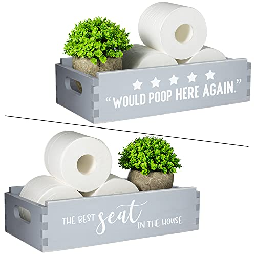 TJ.MOREE 2 Sides of Bathroom Decor Box-Would Poop Here Again Sign,The Best seat in The House Bathroom Signs-Over Toilet Bowl Storage Farmhouse Bathroom Decor Toilet Paper Storage Bathroom Reminder