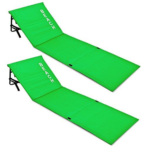 Deuba 2X Matelas de Plage Vert 158 x 56 x 45,5 cm Tapis de Plage avec Dossier et Sangle