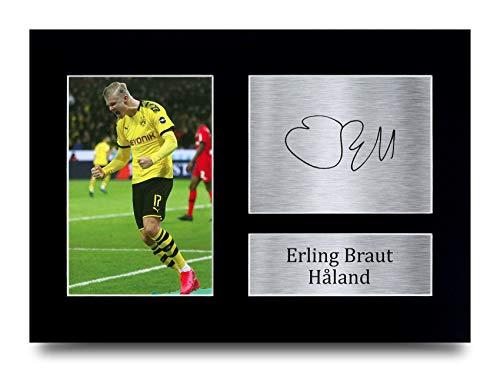 HWC Trading A4 Erling Haaland Dortmund Geschenke, gedrucktes Autogramm für Fans und Fans – A4