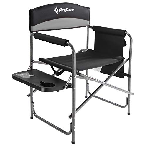 KingCamp Camping Chair Heavy Duty Folding Camp Director Chair Oversize Padded Seat with Side Table and Side Pockets Supports 396 lbs One Size Black/MediumGrey KC1904_Black/MediumGreyUSVC
