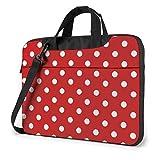 Maletín para portátil, Tableta, Rojo, Blanco, Lunares, Estuche para portátil, maletín para Ordenador portátil, maletín para Negocios, Informal o Escolar