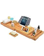 バスタブトレー お風呂 テーブル バステーブル 竹製 バスタブラック ブックスタンド付き スマホ ワイン タオル 置き 浴室 半身浴 伸縮式 75~100cm