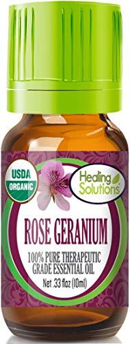 Organic Rose Geranium Essential Oil (100% Pure - USDA Certified Organic) Best Therapeutic Grade Essential Oil - 10ml