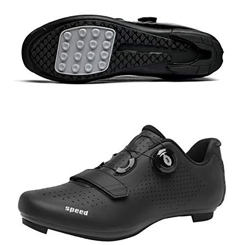 AGYE Zapatillas de Ciclismo, Calzado de Ciclismo Antideslizante,Zapatos de Bicicleta de Montaña y Carretera Sin Bloqueo para Hombres y Mujeres, Zapatos de Montar con Suela de Goma,Black-EU37