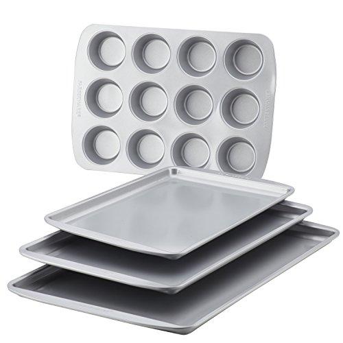 Farberware Nonstick Bakeware 4-Piece Baking Sheet Set, Gray -