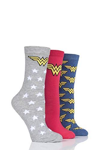 Film und TV SockShop Damen Wonder Woman Logo Baumwolle Socken Packung mit 3 Assortiert 36-40