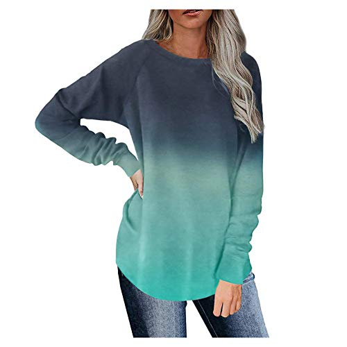 Haozin Womens Basic Shirts Tunic Tops Long Sleeve Crewneck Casual Blouses Fall Winter Clothes Color Matching Tee (Green,S)