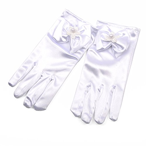 Lusiyu Girl Short Solid Child Size Wrist Length Formal Glove with...