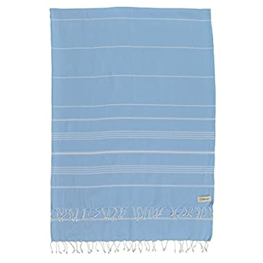 Bersuse 100% Cotton - Anatolia XL Throw Blanket Turkish Towel Pestemal - Bath Beach Fouta Peshtemal - Multipurpose Bed or Couch Throw, Table Cover or Picnic Mat - Striped - 61X82 Inches, Blue