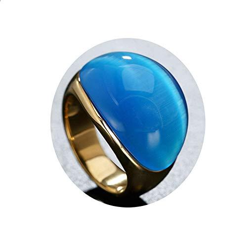 Ubestlove Ring Jahrestag Opale Rétro Edelstahlrings Eheringe Paar Damenring Opal Blau 59