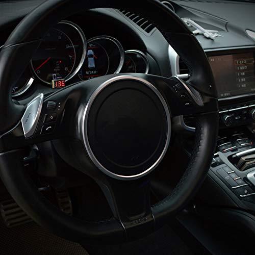 jap768 Car Styling Lenkrad Kreis Dekoration Aufkleber Trim gepasst for Porsche Panamera Cayenne Aluminiumlegierung Innenausstattung (Farbe : Silber-)
