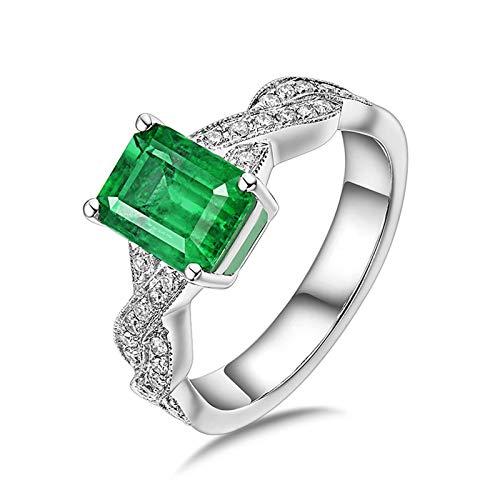 Daesar Anillos de Oro Blanco Para Mujer 18K,Rectángulo Esmeralda Verde 1.38ct Diamante 0.29ct,Plata Verde