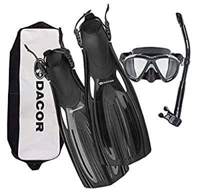 Dacor Mariner Scuba Diving & Snorkeling Package | Open Heel Fins, Mask & Semi-Dry Snorkel Set w Carry Bag | Pro Grade Performance & Comfort at Recreational Prices | Men & Women (Black, Medium)