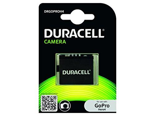 Duracell Ersatzakku Ersatzbatterie Zusatzakku Leistungsfähig Wiederaufladbar Li-Ion für GoPro Hero 4 Actionkamera - Schwarz
