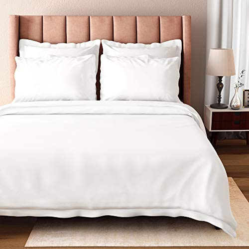 Bioweaves 100% Organic Cotton King Duvet Cover Set, 3-Piece, 300 Thread Count Sateen Weave GOTS Certified Comforter Cover with Buttoned Closure and 2 Pillow Shams – White, 104x90 inches