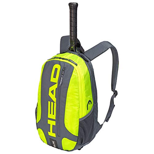 HEAD Unisex's Elite Backpack Tennis Racket Bag, Grey/Neon Yellow, One Size
